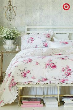Antique rose bedding...so pretty.