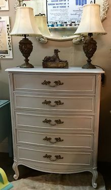 "French Chest of Drawers By Drexel Painted In Farmhouse Paint   36"" Wide x 20"" Deep x 46"" High   Painted in Farmhouse Paint  Ash White Asphatum Glaze  $495  Grace Designs  Dealer #8616  Wh"