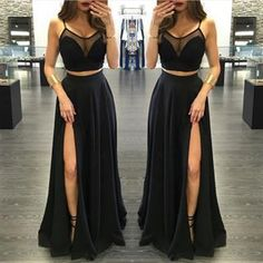Two Pieces Black Long Prom Dress/Prom Gown/Evening Dress BG23