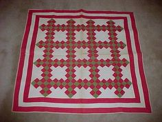 """Fabulous 1860s Hand Stitched ANTIQUE CRIB QUILT - Red White Gray - 35"""" by 34"""", eBay, katiques"""