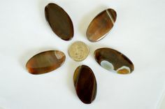 Huge Brown Agate Stone Beads 50x25mm Flat Oval by TheBeadBandit, $1.89