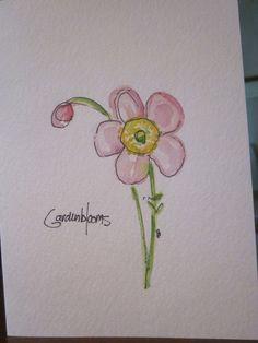 Delicate Wildflowers Watercolor Card