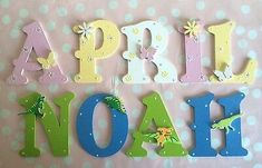 Wooden Name Plaques, Wooden Names, Bedroom Bunting, Bedroom Wall, Bedroom Themes, Christmas Birthday, Birthday Gifts, Wooden Alphabet Letters, Letter Art