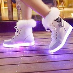 Women's Spring Fall Winter Light Up Shoes Leatherette Outdoor Casual Athletic Flat Heel Lace-up Black White 2017 - Sneakers Mode, Sneakers Fashion, Fashion Shoes, Shoes Sneakers, Shoes Heels, Small Heel Shoes, 80s Fashion, Kawaii Shoes, Kawaii Clothes