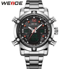 WEIDE Mens Watches Top Brand High Quality LCD Watches for Men Silver Full Steel Quartz Sports Watch Relogio Masculino / WH5205