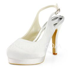 Satin Stiletto Heel Platform Slingbacks Pumps Wedding Shoes With Buckle (047011884)