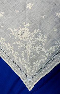N/A Kerchief, Tambour, Chain Stitch, Capes, Aprons, 18th Century, Alexander Mcqueen Scarf, Ruffles, Handkerchiefs