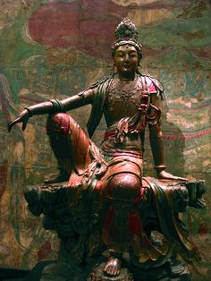 Spent much time viewing this growing up. It is large & impressive, in a beautiful, quiet exhibit room, like entering a temple. Surprised I didn't become a Buddhist as a result, it is so moving. Guanyin of the Southern Sea, Liao (907-1125) or Jin Dynasty (1115-1234) Chinese IMG_0956