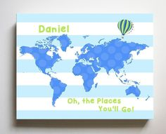 Dr Seuss Nursery Decor Personalized Striped Canvas World Map Kids Room Art - Oh The Places You'll Go-B018ISG496 - Blue Green / 16 x 20 Inches