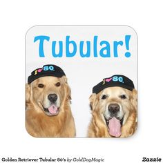 Golden Retriever Tubular 80's Square Sticker