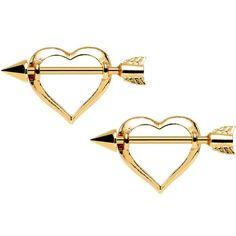 "14 Gauge 5/8"" Gold Plated Arrow Through My Heart Nipple Shield Set"