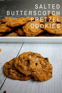 Sweet and salty, these Salted Butterscotch Pretzel Cookies – a butterscotch cookie packed with pretzels, chocolate chips and toffee – are hard to stop at just one.