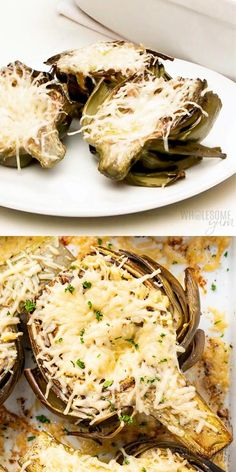 Easy Roasted Artichokes Recipe With Garlic & Parmesan - The easiest, most delicious method for how to roast artichokes! These roasted artichoke halves are seasoned simply with lemon, garlic and olive oil, and finished with a layer of parmesan. #wholesomeyum Stuffed Artichoke Recipes, Vegan Artichoke Recipes, Roasted Artichoke Recipe, Roasted Artichokes, Cooking Artichokes, Garlic Oil Recipe, Garlic Recipes, Roast Recipes, Side Recipes