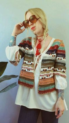 Cool hand crochet sweater with 3/4 sleeves.