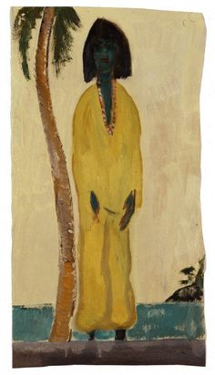 """Peter Doig, UNTITLED, 2005, oil on paper, 59 x 31 cm / 23 x 12""""."""