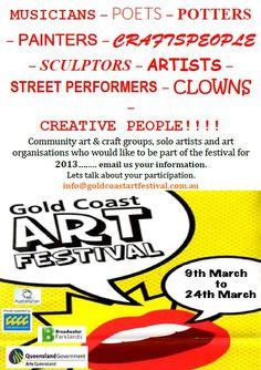 GCAF 2013 | Gold Coast Art Festival Creative People, Creative Art, Levels Of Government, Surf Art, White Horses, Gold Art, Creative Industries, Let Them Talk, Art Festival