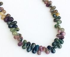 Multi Tourmaline Teardrop Beads Raw Multi by gemsforjewels on Etsy