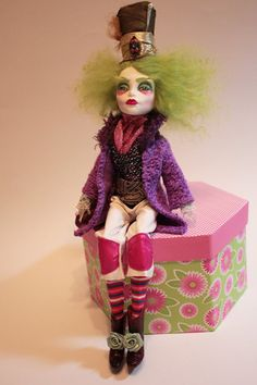 The Mad Hatter OOAK Monster High Repaint Fantasy Wonderland Art Doll Goth Emo   eBay