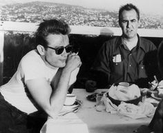 """James Dean and Jim Backus on lunch break on set of """"Rebel Without A Cause"""", 1955."""