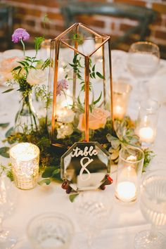 Wedding Table Decorations Mirrors gold terrarium centerpiece with mirror table numbers Romantic Wedding Centerpieces, Lantern Centerpiece Wedding, Wedding Reception Table Decorations, Wedding Lanterns, Rustic Wedding, Wedding Flowers, Wedding Ideas, Wedding Bride, Bridal Table