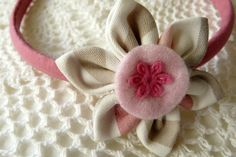 Blush pink headband with striped kanzashi flower / by ImwtheBand,
