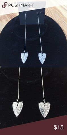 GUESS - Pave Heart Threader Linear Earring NWT GUESS - Pave Heart Threader Linear Earrings. Silver/Crystal  NWT Guess Jewelry Earrings