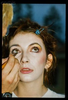Kate Bush getting her makeup applied