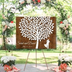 Wooden Signature Tree with couple silhouette