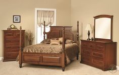 With your choice of four poster bed or sleigh bed, the Oxford Bedroom Furniture Set includes matching nightstand and solid wood chest of drawers.