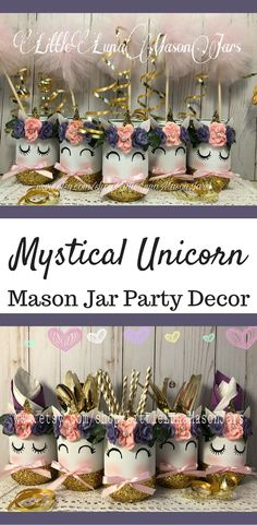 Mystical Unicorn Mason Jar Party Decor | Unicorn Centerpiece | Unicorn Table Decor | Unicorn Birthday Party #ad #unicornparty #unicorntribe #unicorn #centerpieces #centerpieceideas #tabledecor #masonjar #mason #birthdayparty #partyideas #partydecor #party #partytime #partyplanning #etsyshop #etsyfinds