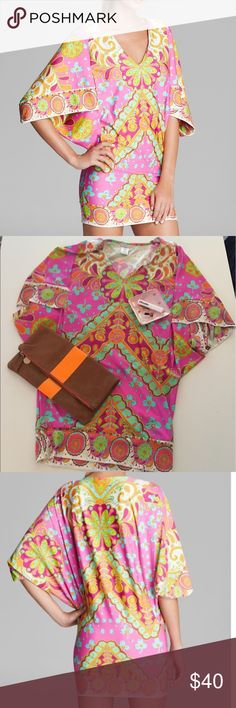 Trina Turk XS Pink Cover Up. Retailed for 225 Gorgeous pink, green and orange Trina Turk Cover Up. Size XS. Never worn. Retailed for $225 Trina Turk Swim Coverups