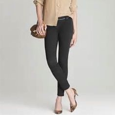 J. Crew CityFit Pant CityFit in Dark Gray. Cropped leg, side zip, cotton with a hint of stretch. Fist picture is close to how these look on. Love these but need a size smaller. J. Crew Pants Capris