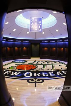 The renovated UK men's locker room at Rupp Arena features flooring from the 2012 NCAA championship game