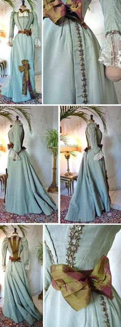 Two-piece walking dress ca. late 1890s. Pale green silk faille. Boned bodice lined in green cotton with faux gemstone braid in front & around sleeves & cuffs. Contrasting lace forms placket, collar, & cuffs. Iridescent 2-tone silk organza outlines back seams and defines jacket edge. Fastens front with hooks & bars. Skirt lined in glazed cotton and constructed with gored sections & stroked pleats at center back. More braid & bow on front skirt. Fastens with substantial hooks & bars…
