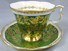 Royal Albert Buckingham Green Gold Chintz Tea Cup and Saucer