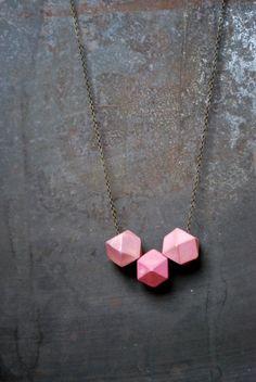 Pink Geometric Wood Necklace - Boho Necklace - Everyday. $30.00, via Etsy.