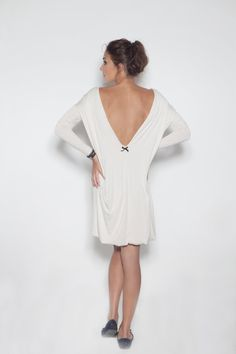 Open-back viscose Milk and honey LeMuse dress with little black bow on the back