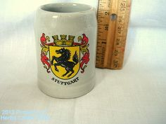 Beer Stein Stuttgart Tiny Mug 2 1/2 Ceramic Germany Stoneware Collectible by HerbsCraftsGifts