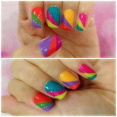 Rainbow nail design