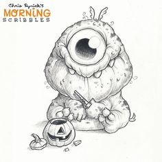 He's got a keen eye for detail. #morningscribbles #spookyscribbles
