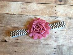 Rose Pink Grey Chevron Baby Headband Shabby by EllasLilliesAndLace