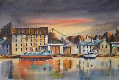 The quayside looking across the river Barrow at Graiguenamanagh village in the south east of Ireland. The Barrow flows through slowly throwing up reflections of the boats and buildings. Wall Art, Painting, Painting Art, Paintings, Painted Canvas, Drawings, Wall Decor