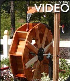 Custom Wooden Water Wheels, Waterwheel for Home and Garden: Hallster Water Wheels
