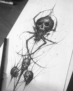 """5,621 Me gusta, 54 comentarios - Brandon Herrera (@brandon__herrera) en Instagram: """"💀💀💀🕷🕸 #penandink #skull #spider #illustration #sketch #tattoo #design #darkart #blackandwhite…"""""""