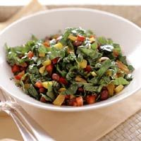 Black beans add fiber and protein to this low calorie, vegetarian main dish salad.
