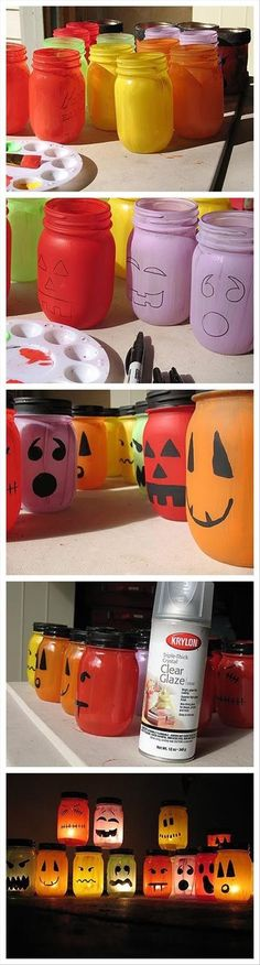 DIY Halloween Jack-O-Lantern Jars. These are ADORABLE. I would love to have some of these for my room