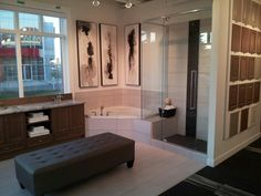 Ensuite Bath display in our new Expressions Design Studio! Bathroom Lighting, Bathtub, Display, Mirror, Studio, Furniture, Design, Home Decor, Bathroom Light Fittings