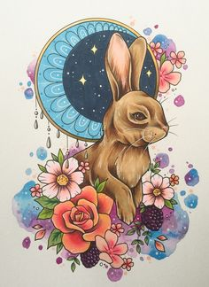 """Woodland Rabbit"" by Libby Piechowicz Outline Drawings, Art Drawings Sketches, Tattoo Drawings, Tattoo Art, Lapin Art, Bunny Painting, Rabbit Tattoos, Arte Sketchbook, Fantasy Kunst"