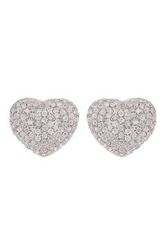 For the woman who loves hearts, Haute Vault's 18K white gold diamond pave heart shaped earrings are the perfect alternative to hoops or studs. Pair with a casual or dressy look for instant sparkle