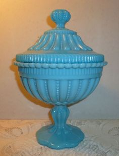 Large Vintage Blue Milk Glass Candy Dish